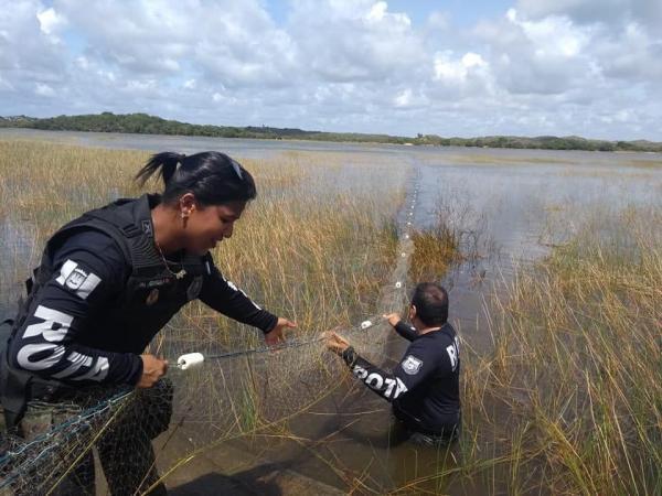 Estância: Fiscalização ambiental coíbe pesca irregular na Lagoa dos Tambaquis