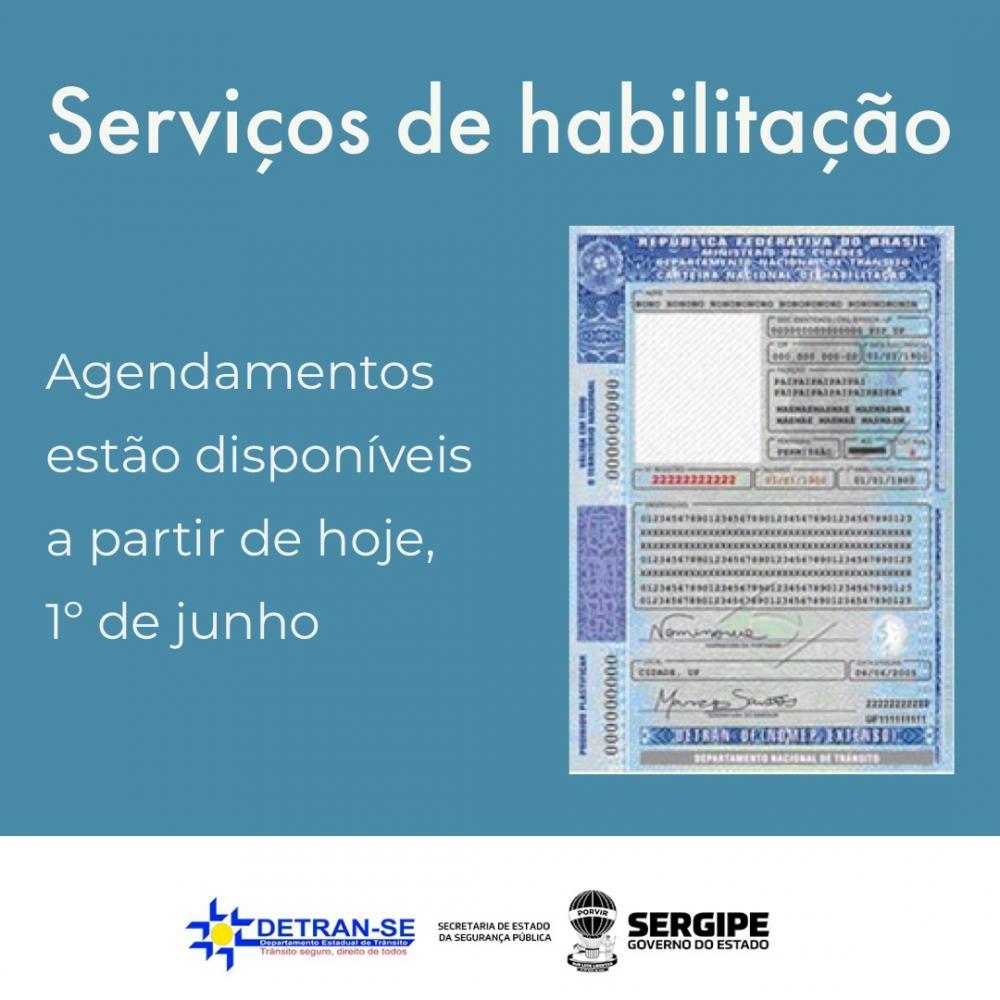 Serviços de habilitação em SE poderão ser agendados a partir do dia 1º de junho